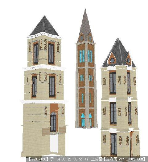 欧式塔楼su精致设计模型图片