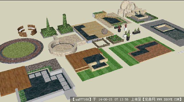 庭院景观小品集su精致设计模型