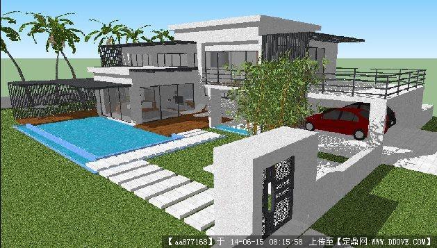 现代简约新式别墅su精致设计模型