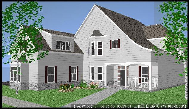 欧式坡型屋顶别墅su精致设计模型图片
