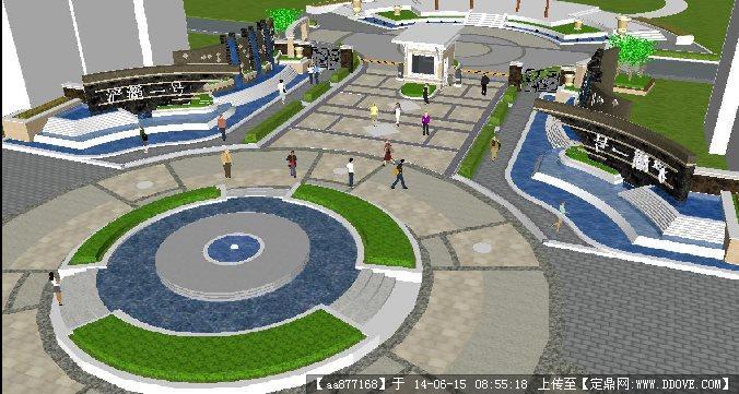 某小区入口大门景观su精致设计模型