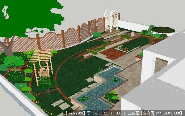 现代别墅小庭院su精致设计模型