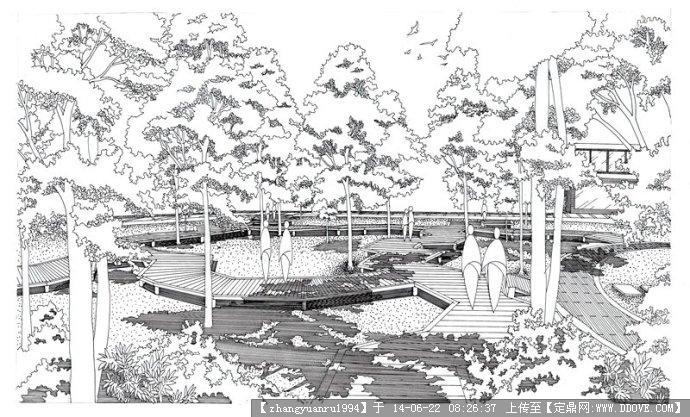 某景区鲁迅广场手绘效果图01的图片浏览,园林效果图