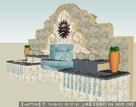 欧式水景墙su精致设计模型