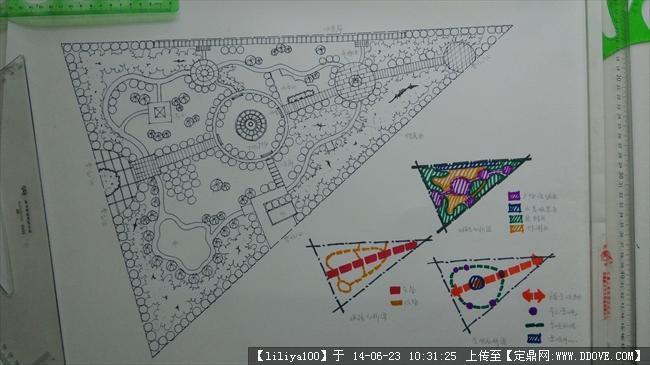 长方形小游园自然式平面设计图展示