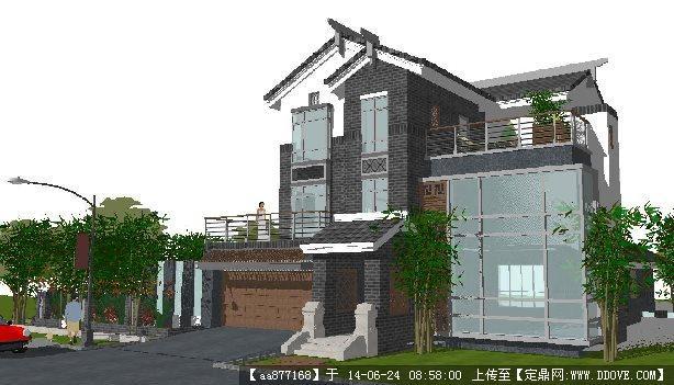 新中式小独栋别墅su精细设计模型图片