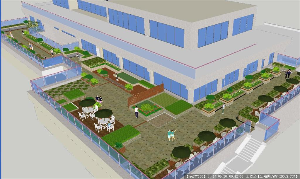 现代图书馆屋顶花园su精致设计模型