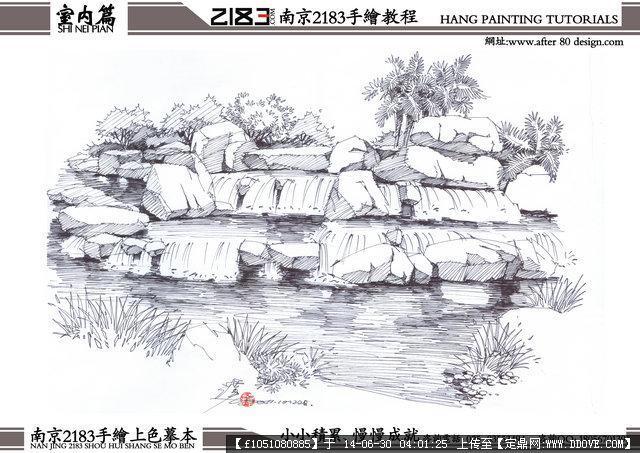 手绘线稿景观效果图