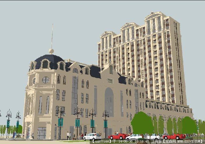 欧式商业会所+客房酒店su精细设计模型