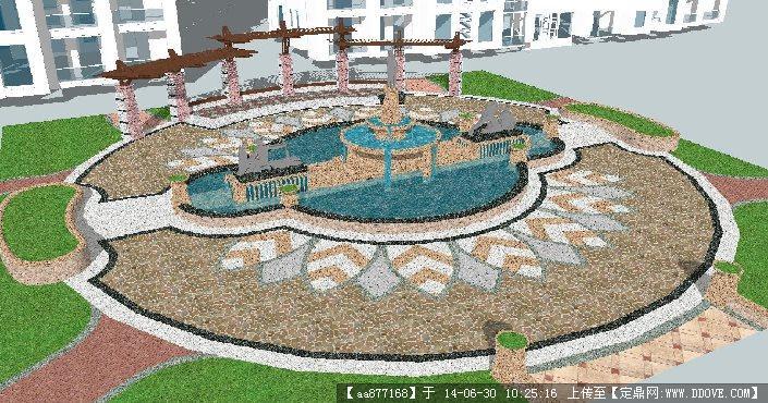 欧式水景+廊架su精细设计模型