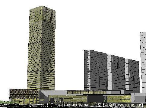 高层商业建筑方案su精细设计模型