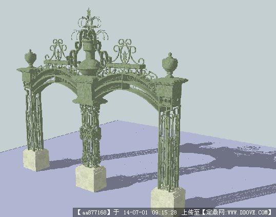 欧式铁艺大门su精细设计模型