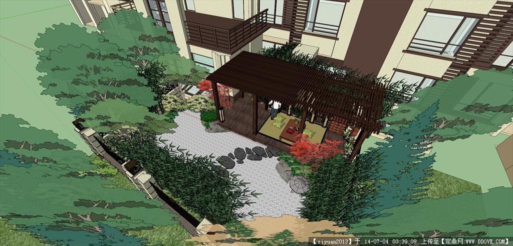 日式枯山水样板庭院景观模型