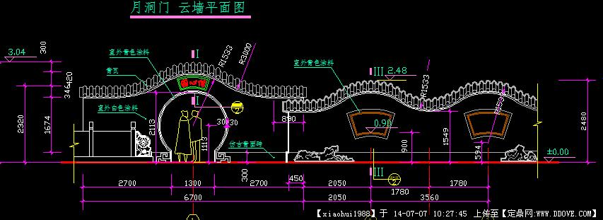 中国古典园林云墙,月洞门施工图详图