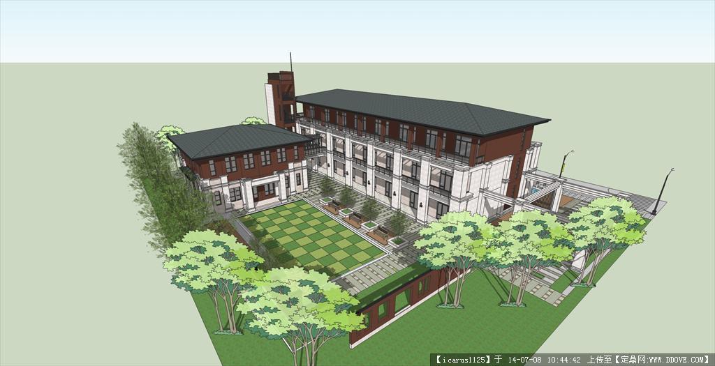 学校景观设计su模型