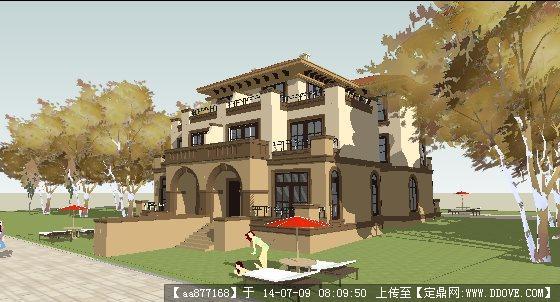 欧式西班牙别墅su精美设计模型图片