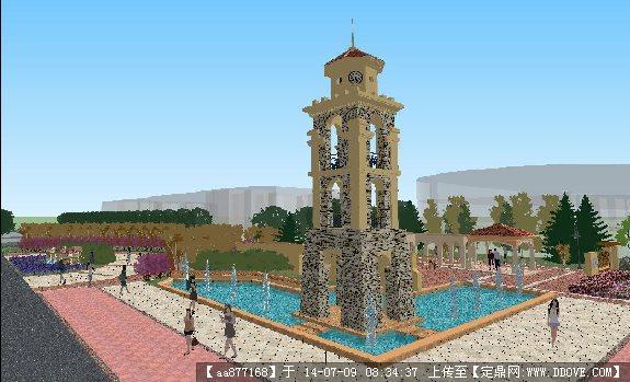 一个欧式景观塔楼su精美设计模型
