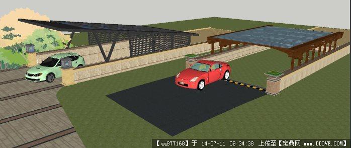 两个地下车库入口su精致设计模型