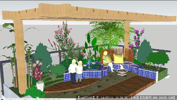 su中式亭廊精致模型 8 古典别墅庭院景观su精细设计模型 欧式水景