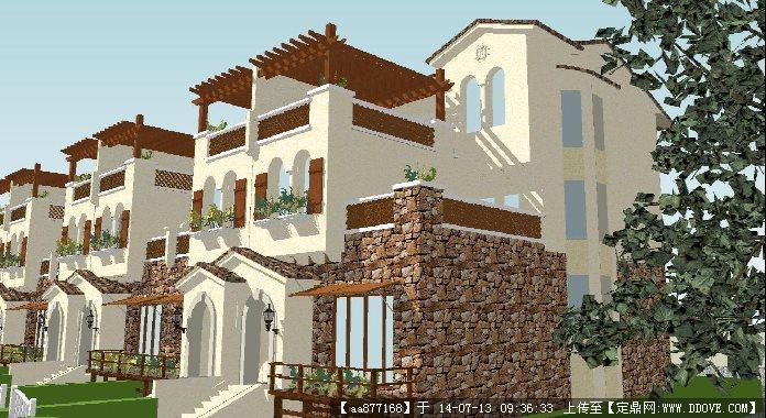 西班牙风格联排别墅su细致设计模型