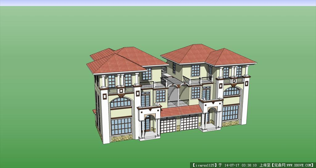 精致双拼欧式别墅建筑su模型的下载地址图片