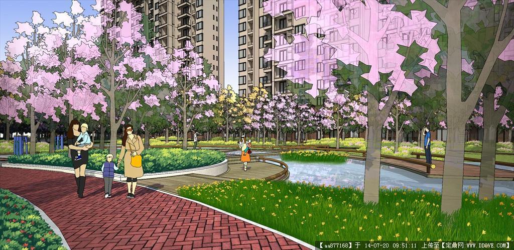 灰晕psd分层效果图——绿篱-黄色色花卉-远景花卉
