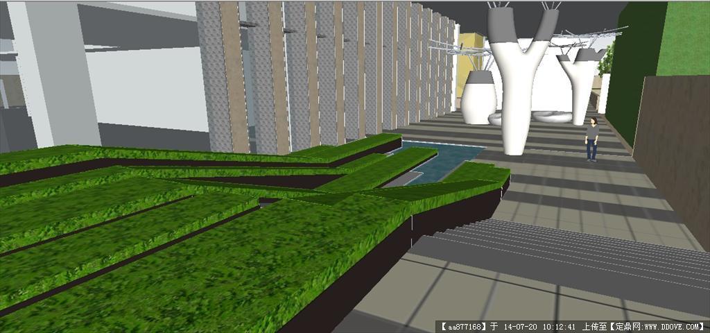 办公大楼中庭景观SU精致设计模型图片