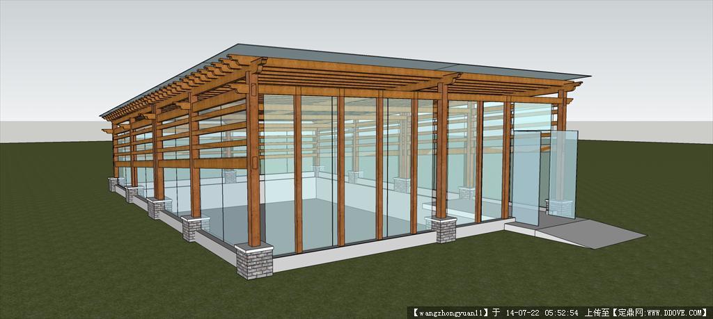 花园花架su模型 木结构廊架su模型 异形廊架  模型 水车景观su模型 精