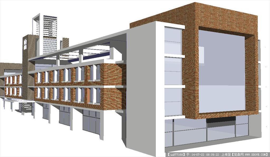 沿街商业建筑su精致设计模型