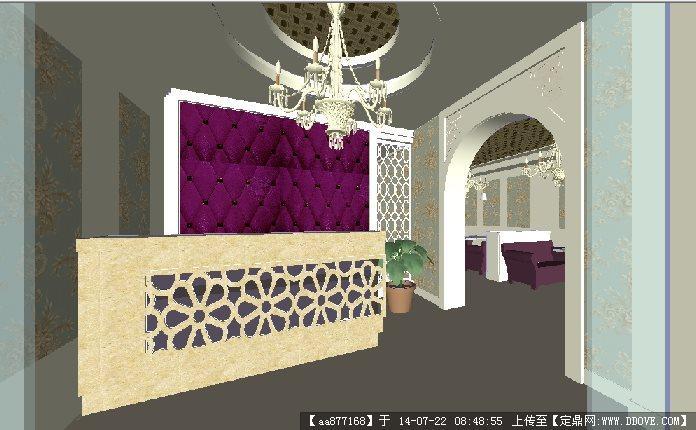 休闲娱乐会所室内装修场景su精细设计模型