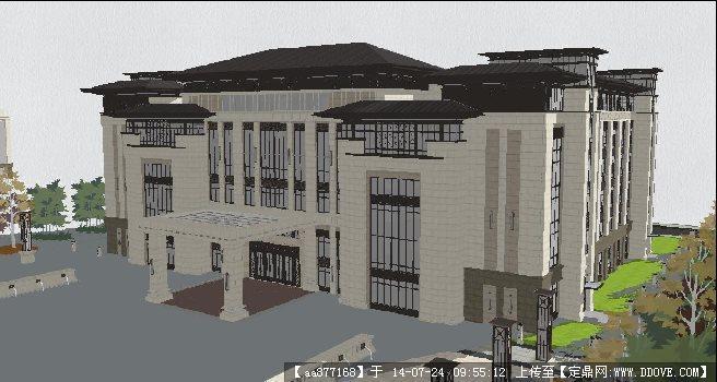 赖特风格教学楼su精细设计模型