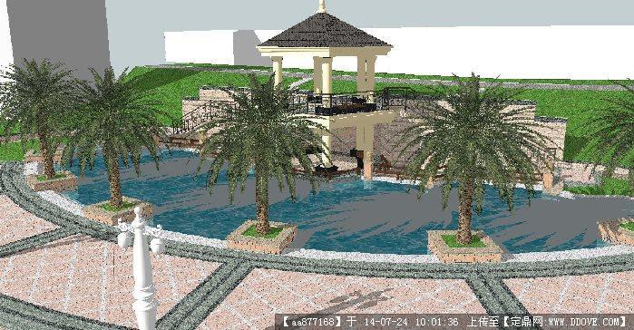 欧式小区入口景观su精细设计模型