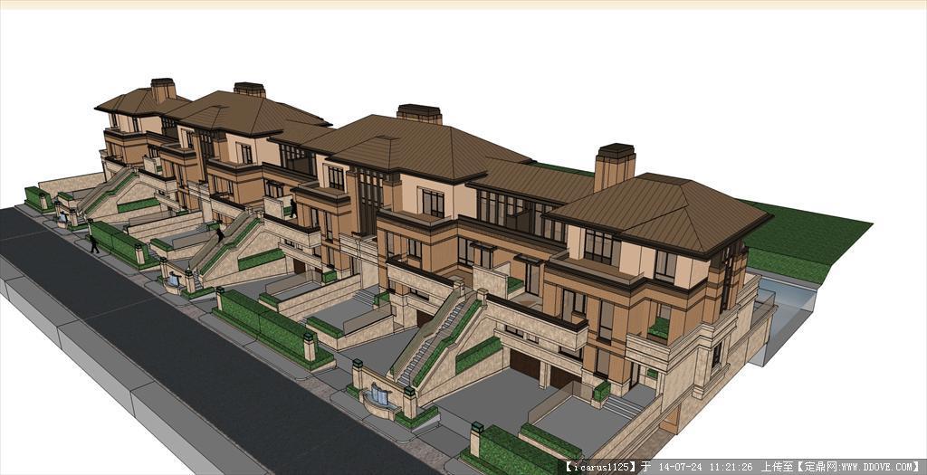 欧式联排别墅建筑su模型