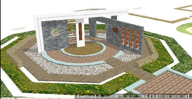 景观入口雕塑su精细设计模型
