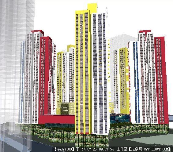 一个现代风格高层住宅项目su精致设计模型