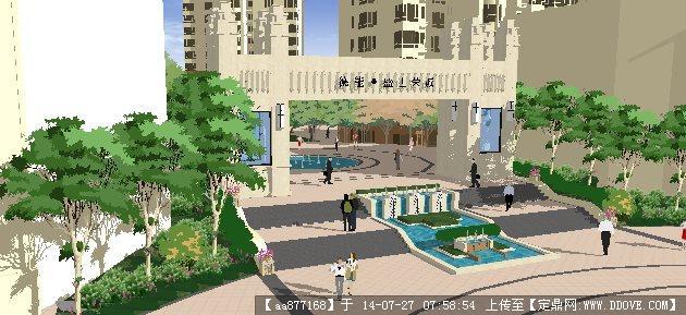 小区入口景观su精细设计模型