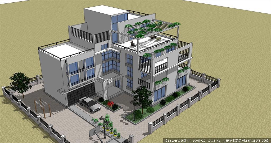 现代别墅建筑景观su模型