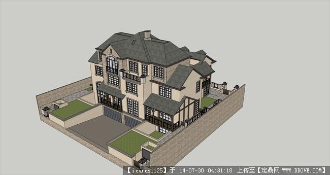 欧式别墅建筑含院落su模型