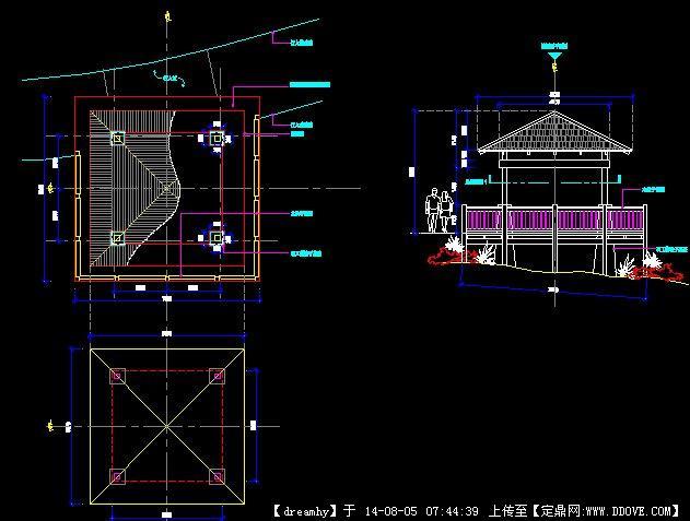 某小区方形木亭施工图图片
