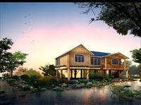 湿地公园旁的一处小木屋建筑景观设计效果图图片