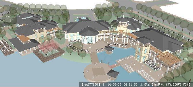 滨湖欧式酒店建筑su草图大师细致设计模型