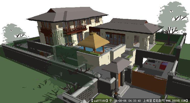万科公望住宅别墅建筑规划su细致设计模型