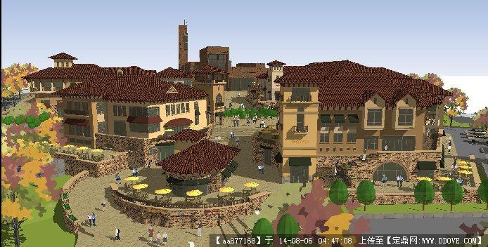 欧式商业街区建筑及景观规划设计方案su细致模型