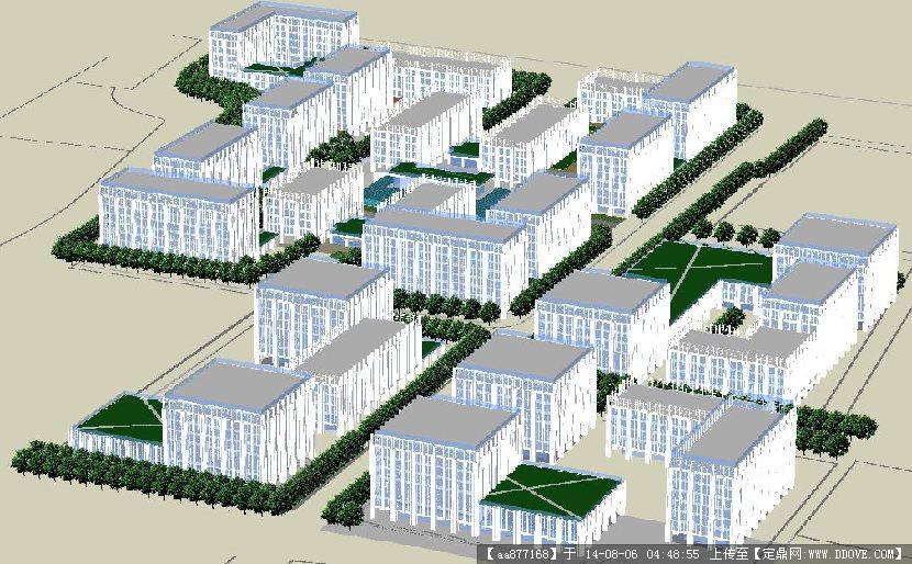 办公区建筑群规划su细致设计模型