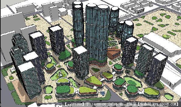 大型商业+住宅公寓综合项目建筑规划设计方案su精致