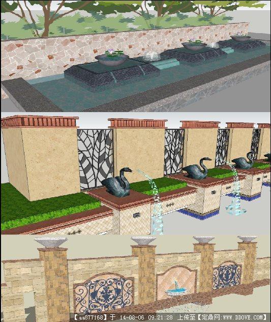 三个欧式水景墙园林景观su精致设计模型