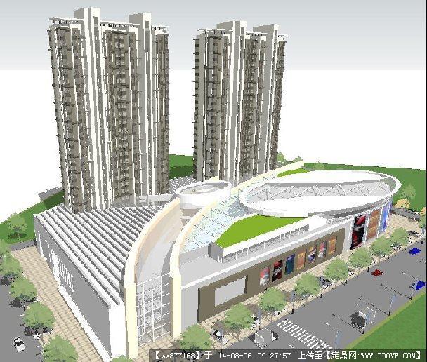 现代风格商业 住宅项目建筑景观规划设计方案su精致草图大