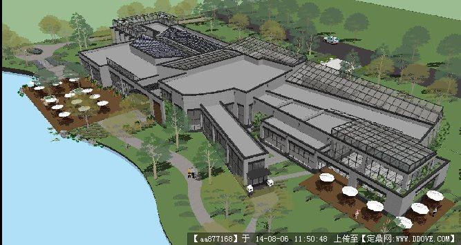 北京现代中式会所建筑su草图大师细致设计模型
