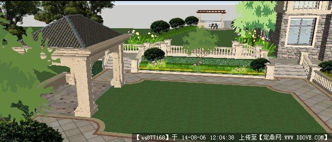 法式别墅庭院园林景观su草图大师细致设计模型