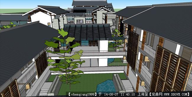 现代中式酒店建筑规划设计su模型图片